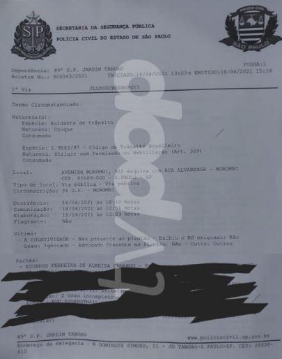 Documento sobre Dudu Camargo (Reprodução)