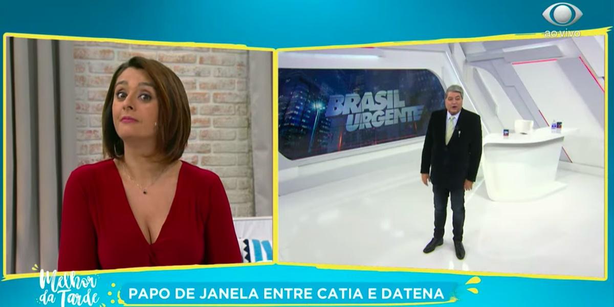 Catia Fonseca fez brincadeira sobre assombração de Datena ficar mais leve (Imagem: Reprodução)