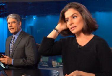 William Bonner e Renata Vasconcellos nos bastidores do Jornal Nacional (Foto: Reprodução)