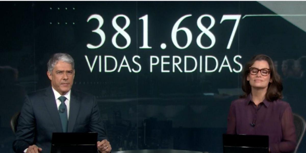 William Bonner e Renata Vasconcellos no Jornal Nacional (Reprodução: Globo)