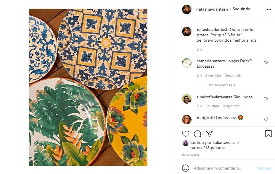Natasha Dantas mostrou detalhes da prataria de sua casa com o jornalista (Foto: Reprodução/ Instagram)