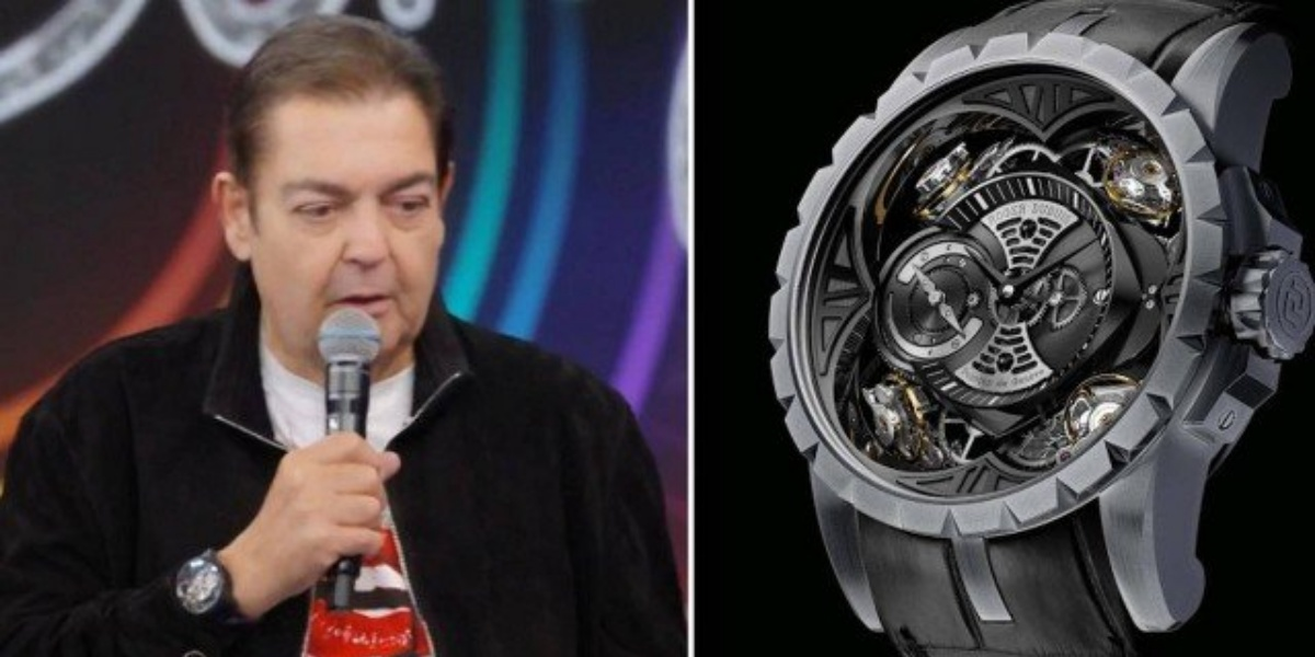 Faustão ostentando relógio de 6 milhões de reais (Imagem: Montagem)