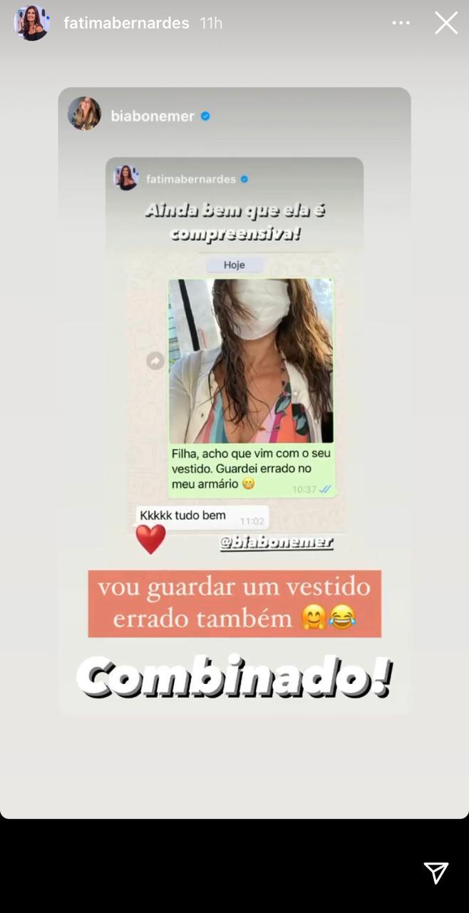 Fátima Bernardes e Bia Bonemer em conversa no whatsapp (Foto: Reprodução)