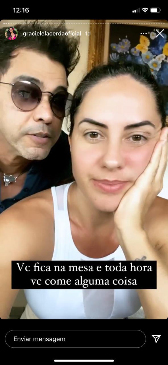 Graciele Lacerda flagra momento íntimo com Zezé (Reprodução)