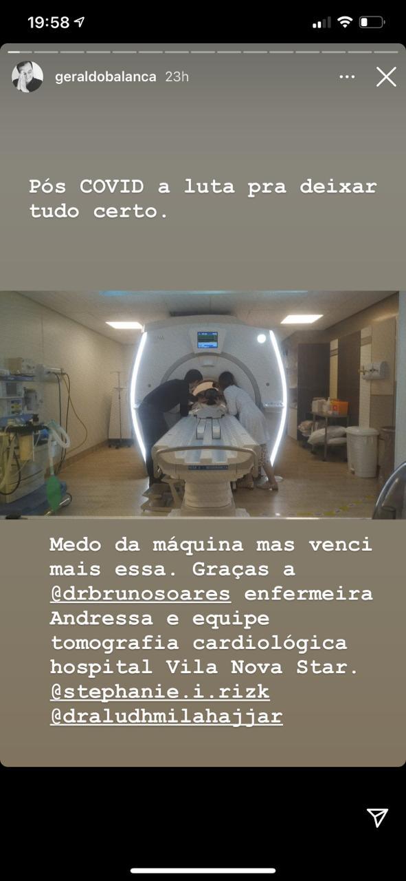 Geraldo Luís no hospital (Reprodução)