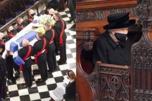 A rainha Elizabeth no velório do Príncipe Philip - Foto: Montagem