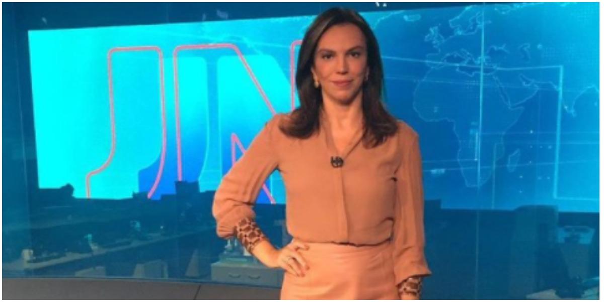 Ana Paula Araújo surgiu em telejornal fora do Bom Dia Brasil e chamou a atenção (Foto: Reprodução)
