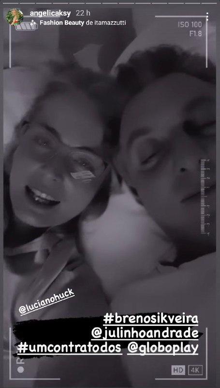 Angélica e Luciano Huck surgiram juntos na cama (Foto: Reprodução)