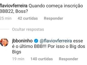 Comentário de Boninho (Foto: Reprodução)