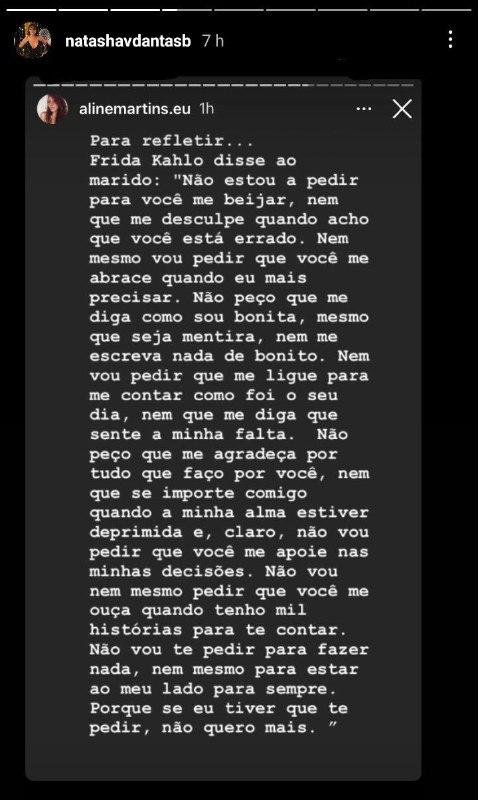 Natasha Dantas fez um desabafo sobre casamento (Foto: Reprodução/ Instagram)