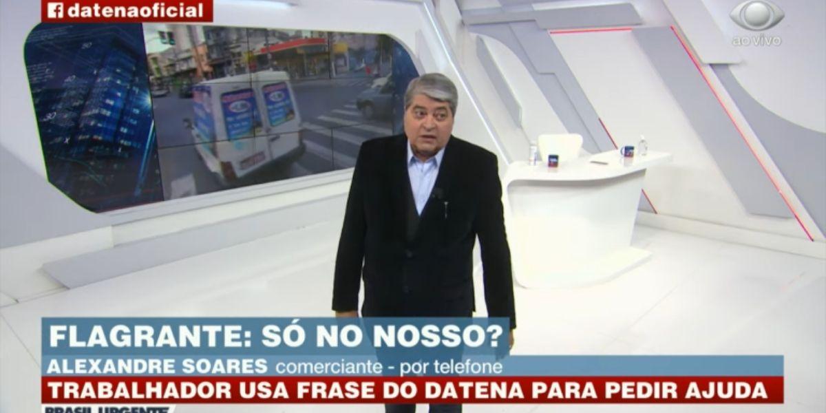 Datena durante ligação no Brasil Urgente (Reprodução: Band)
