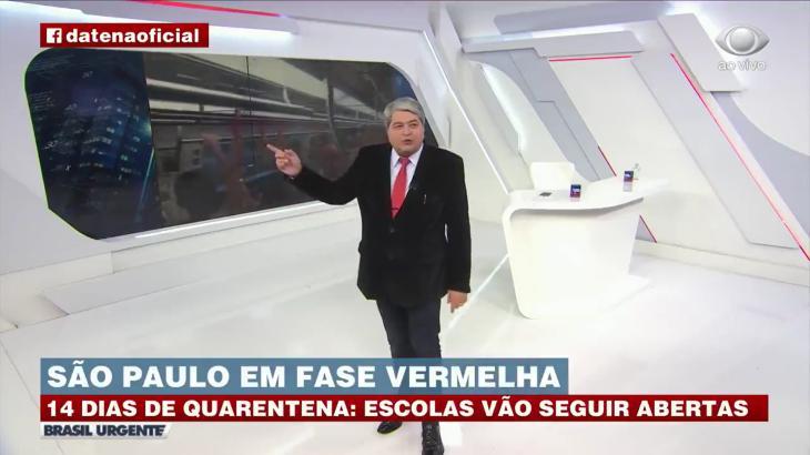 """Datena durante """"Brasil Urgente"""", da Band, ao vivo (Reprodução)"""