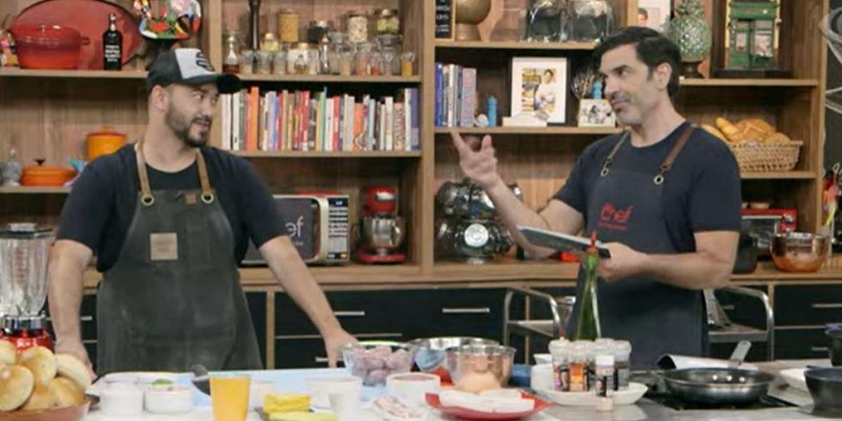 Edu Guedes e Marcos Britto, convidado do The Chef (Reprodução: Band)
