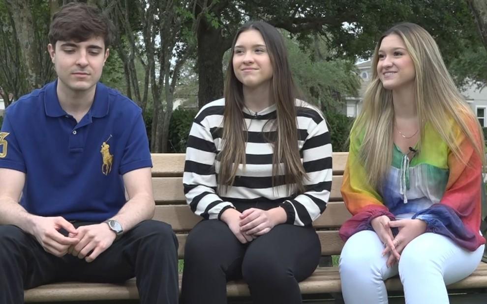 João Augusto, Marina e Sofia, filhos de Gugu, falaram para o A Noite é Nossa da Record (Foto reprodução)