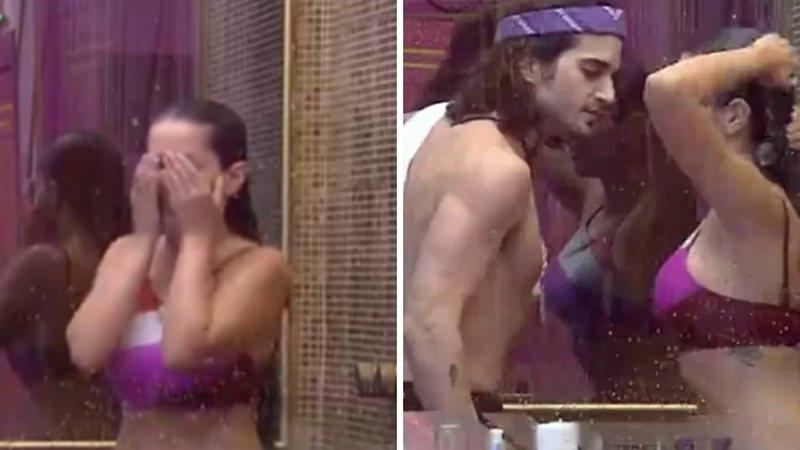 """BBB21: Fiuk flerta, entra no banho e protagoniza beijo fake com Juliette: """"Tentação!"""" - (Reprodução/TV Globo)"""