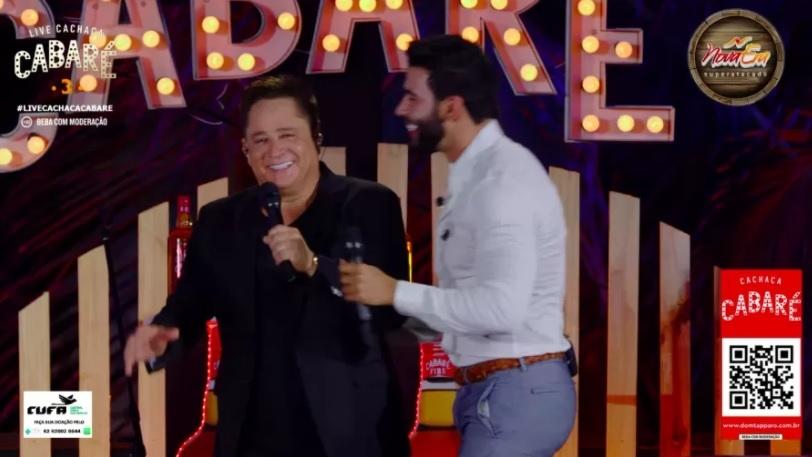 Leonardo e Gusttavo Lima durante a live Cabaré (Foto: Reprodução)