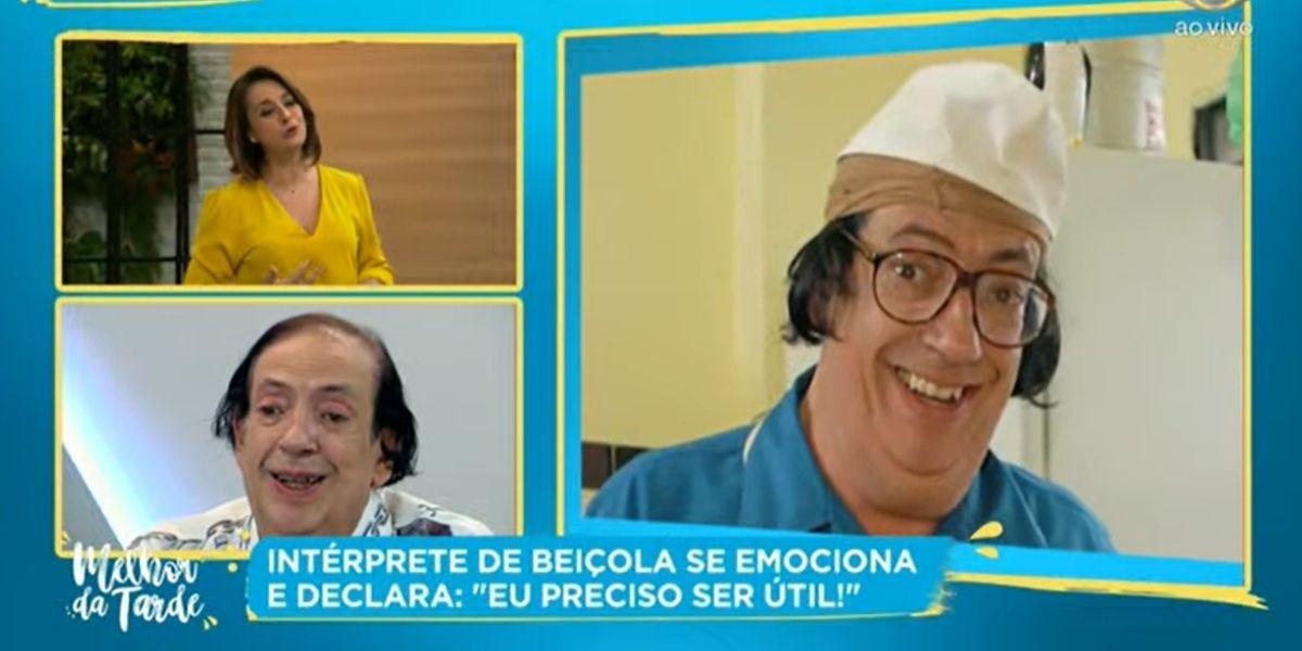 Marcos Oliveira, o Beiçola, se emocionou ao desabafar no programa de Catia Fonseca (Reprodução: Band)