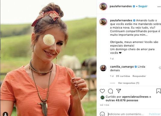 Paula Fernandes foi elogiada por Camilla Camargo, filha de Zezé (Reprodução: Instagram)