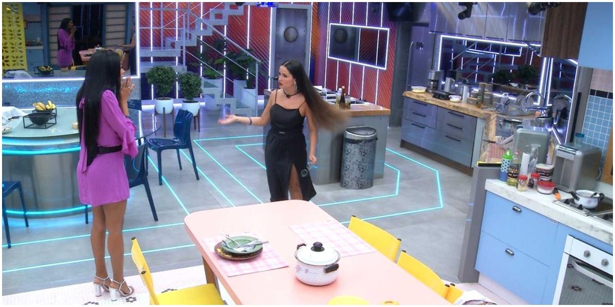 Juliette e Pocah discutiram após a formação do paredão do BBB21 (Foto: Reprodução)