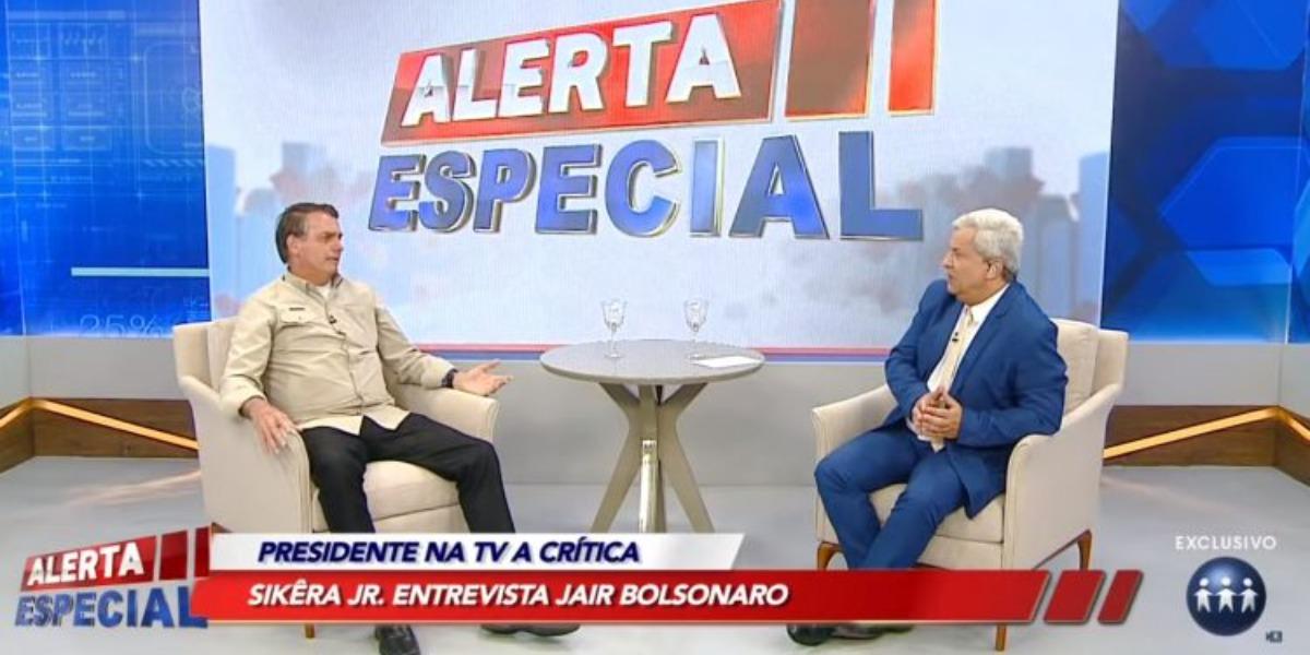 RedeTV! cresce após bate-papo de Jair Bolsonaro com Sikêra Jr. (Foto: Reprodução)