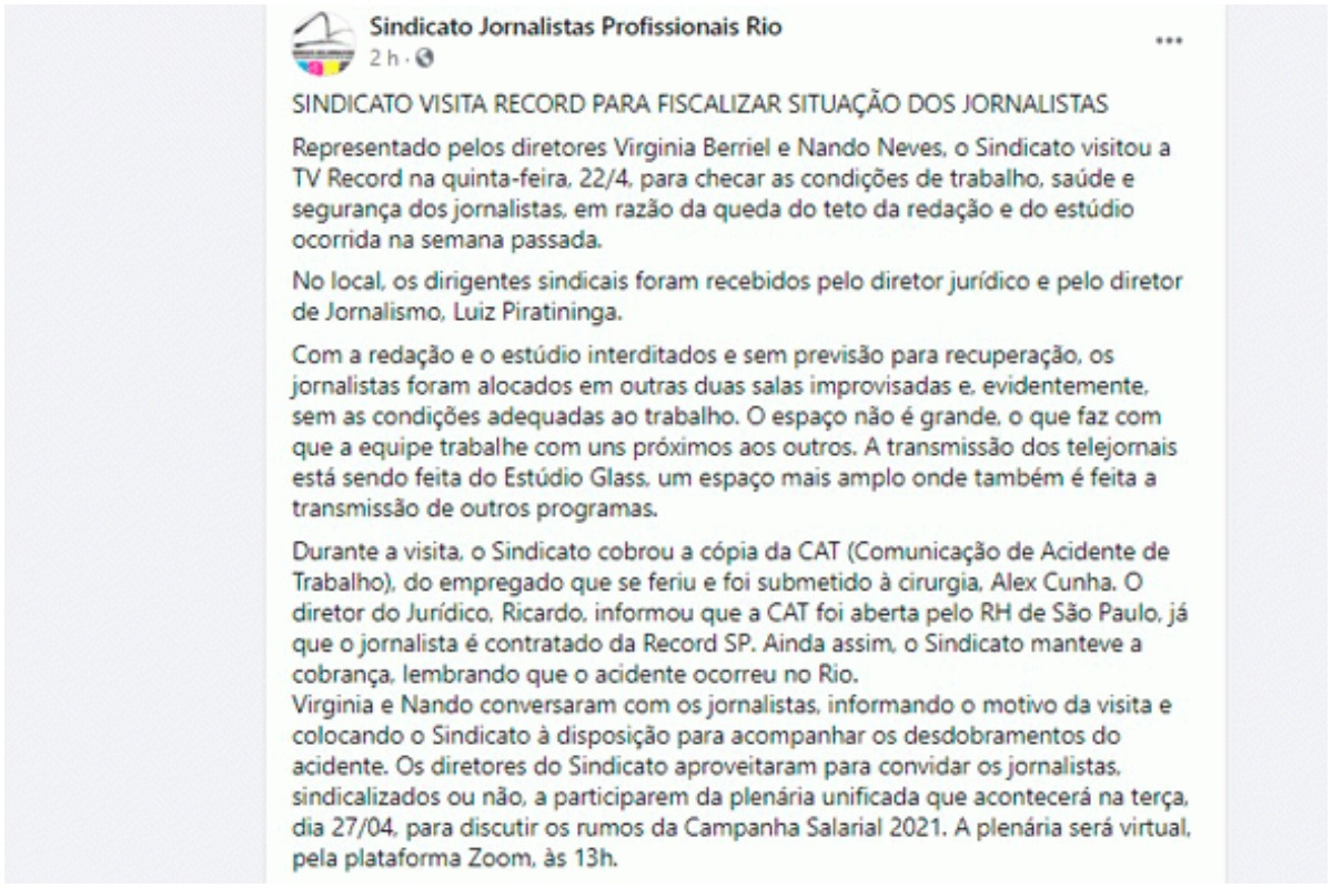 Sindicatos dos Jornalistas do Rio de Janeiro faz vistoria em sede da Record TV Rio (Foto: Reprodução)