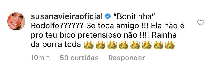 Susana Vieira alfineta Rodolffo em comentário do Instagram (Foto: Reprodução/Instagram)