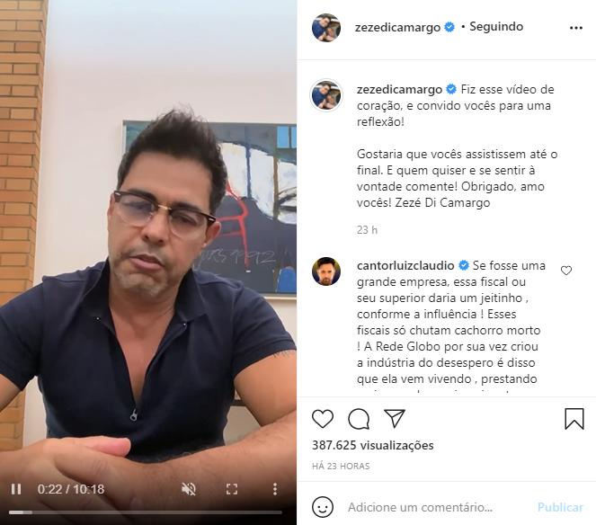 Zezé Di Camargo desabafou em vídeo (Foto: Reprodução/ Instagram)