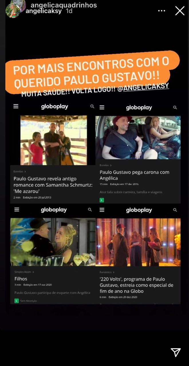 Angélica manifestou a saudade que sente de Paulo Gustavo nos stories (Reprodução: Instagram)
