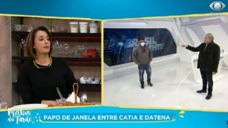 Datena expulsa Catia Fonseca do ar (Foto: Reprodução/Band)