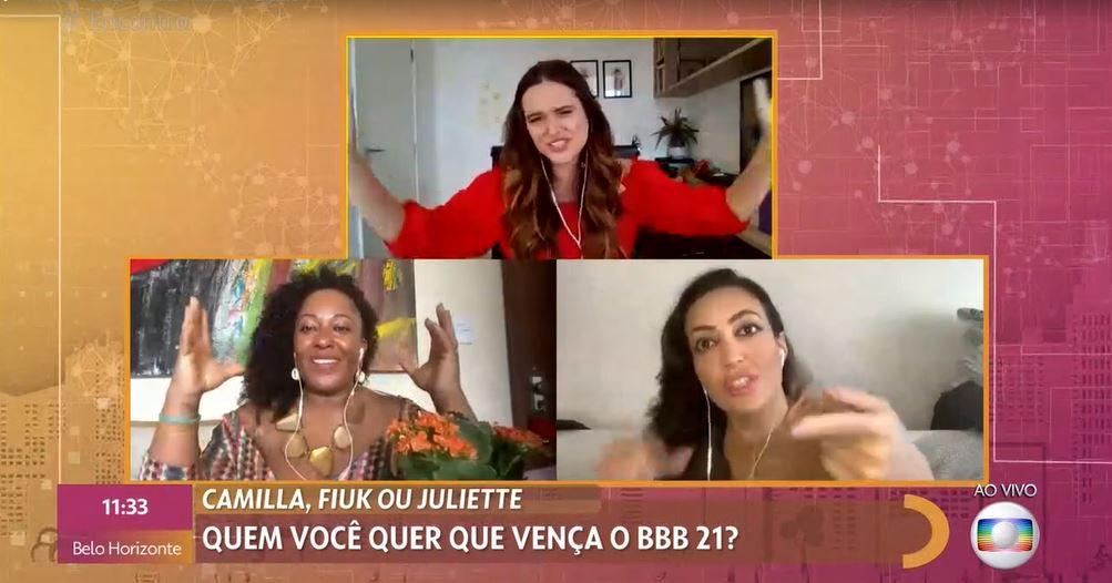 """Tia Má, Juliana Paiva e Tainá Galvão foram as convidadas do """"Encontro"""" (Foto: Reprodução/TV Globo)"""