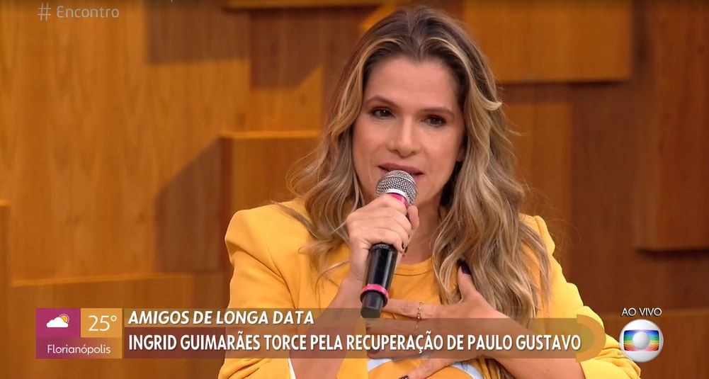 """Ingrid Guimarães se emocionou ao falar de Paulo Gustavo no """"Encontro"""" (Foto: Reprodução/TV Globo)"""