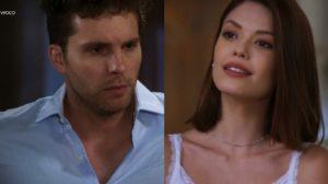fotomontagem de alan e kyra da novela Salve-se quem puder, ele usa camisa social azul clara e ela blusa branca