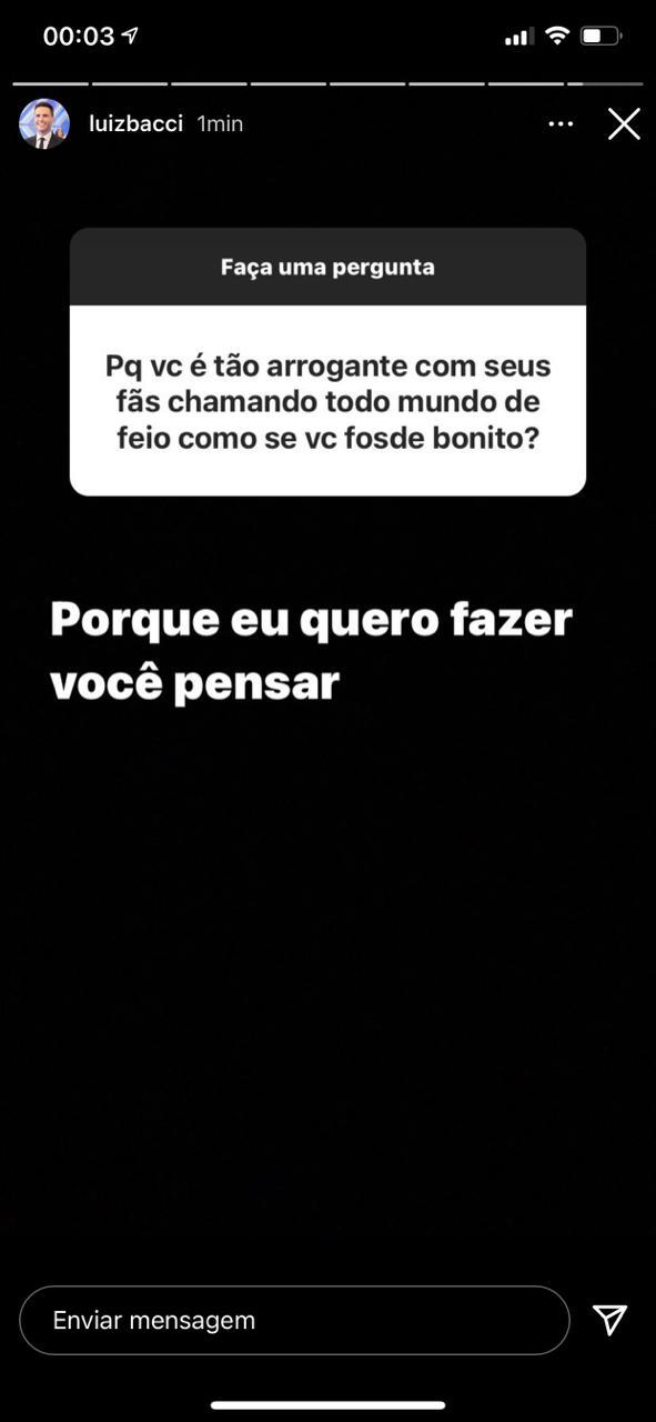 Luiz Bacci foi metralhado por moça em seu Instagram (Reprodução)