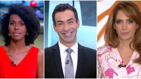 Maju Coutinho, César Tralli e Poliana Abritta em dança das cadeiras - Foto: Montagem