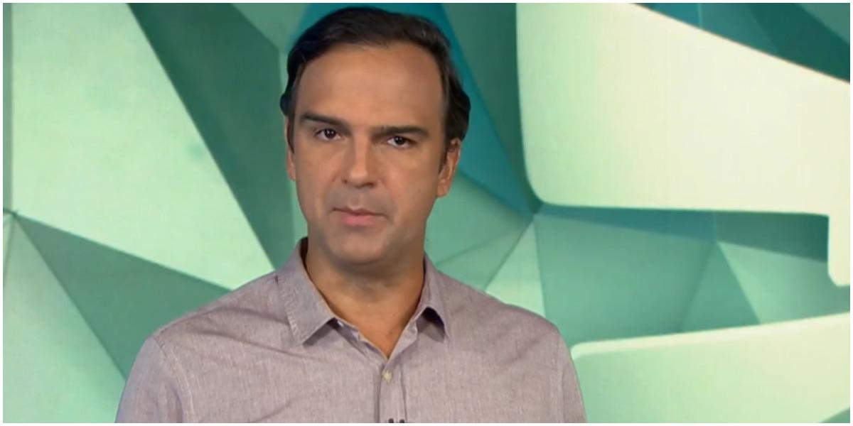 O jornalista Tadeu Schmidt apresenta o Fantástico na Globo - Foto: Reprodução